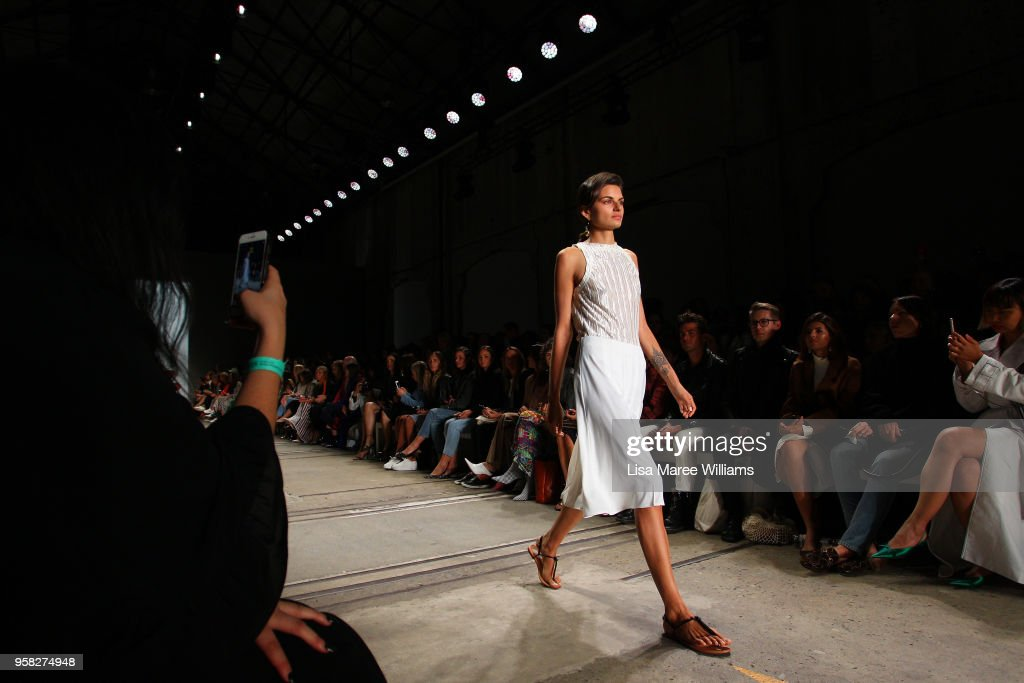 A model walks the runway during the Anna Quan show at Mercedes-Benz Fashion Week Resort 19 Collections at Carriageworks on May 14, 2018 in Sydney, Australia.