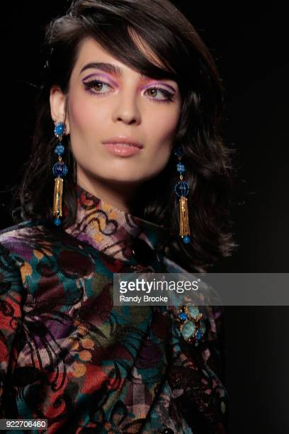A model walks the runway during the Anna Sui fashion show February 2018 New York Fashion Week The Shows at Gallery I at Spring Studios on February 12...