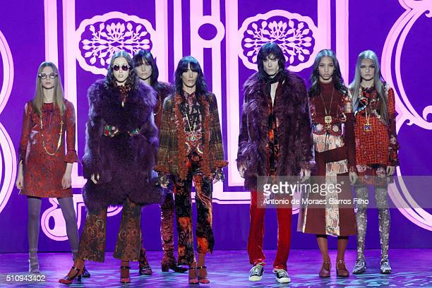 Model walks the runway during the Anna Sui show as a part of Fall 2016 New York Fashion Week at The Arc, Skylight at Moynihan Station on February 17,...
