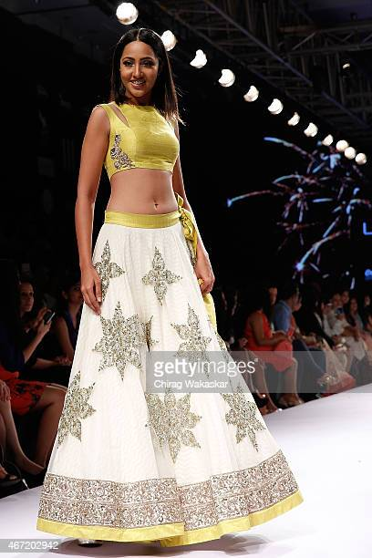 A model walks the runway during the Anrushree Reddy show on day 4 of Lakme Fashion Week Summer/Resort 2015 at Palladium Hotel on March 21 2015 in...