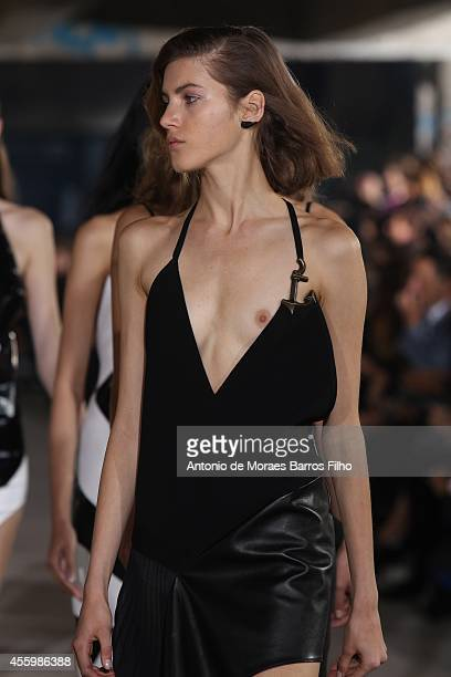 A model walks the runway during the Anthony Vaccarello show as part of the Paris Fashion Week Womenswear Spring/Summer 2015 on September 23 2014 in...