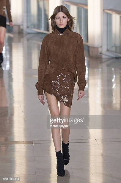 Model walks the runway during the Anthony Vaccarello show as part of the Paris Fashion Week Womenswear Fall/Winter 2015/2016 on March 3, 2015 in...