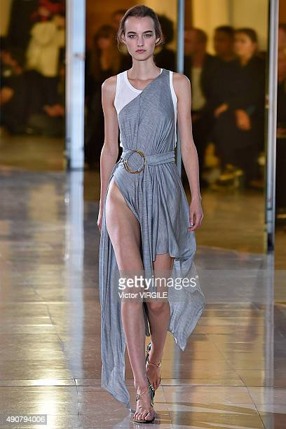 A model walks the runway during the Anthony Vaccarello show as part of the Paris Fashion Week Womenswear Spring/Summer 2016 on September 29 2015 in...