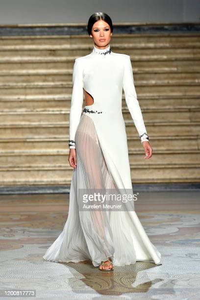 Model walks the runway during the Antonio Grimaldi Haute Couture Spring/Summer 2020 show as part of Paris Fashion Week on January 20, 2020 in Paris,...