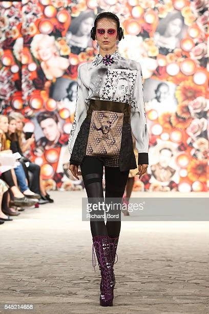 A model walks the runway during the Antonio Ortega Haute Couture Fall/Winter 20162017 show as part of Paris Fashion Week on July 6 2016 in Paris...