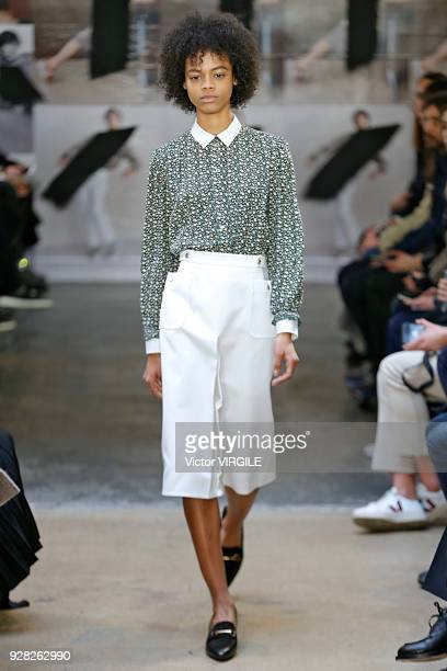 Model walks the runway during the APC Ready to Wear fashion show as part of the Paris Fashion Week Womenswear Fall/Winter 2018/2019 on March 5, 2018...