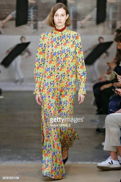 A model walks the runway during the APC Ready to Wear fashion show as part of the Paris Fashion Week Womenswear Fall/Winter 2018/2019 on March 5 2018...