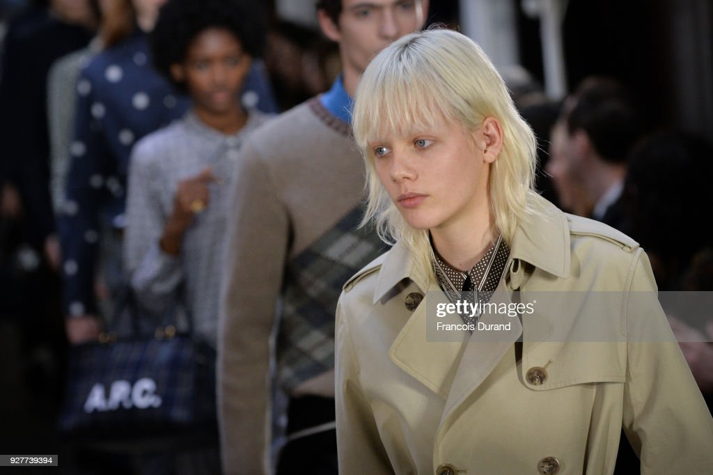 A model walks the runway during the A.P.C show as part of the Paris Fashion Week Womenswear Fall/Winter 2018/2019 on March 5, 2018 in Paris, France.