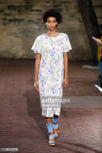 Model walks the runway during the A.P.C Womenswear Spring/Summer 2020 show as part of Paris Fashion Week on September 30, 2019 in Paris, France.