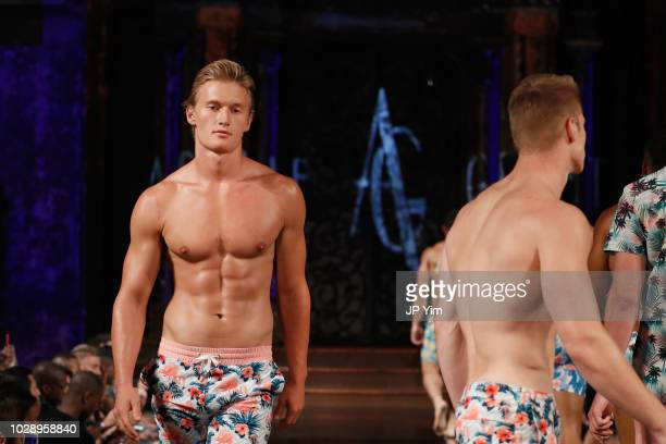A model walks the runway during the ARGYLE GRANT Show At New York Fashion Week Powered By Arta Hearts Fashion NYFW at The Angel Orensanz Foundation...