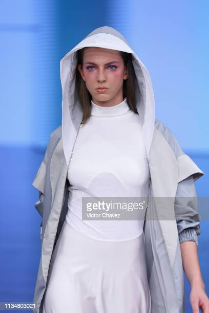 A model walks the runway during the Arkatha fashion show as part of the MercedesBenz Fashion Week Mexico Fall/Winter 2019 Day 3 at Fronton Mexico on...