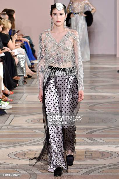A model walks the runway during the Armani Prive Haute Couture Fall/Winter 2019 2020 show as part of Paris Fashion Week on July 02 2019 in Paris...