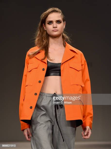 A model walks the runway during the Arwa al Banawi show at Fashion Forward October 2017 held at the Dubai Design District on October 26 2017 in Dubai...