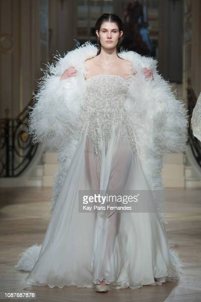 A model walks the runway during the Ashi Studio Spring Summer 2019 show as part of Paris Fashion Week on January 23 2019 in Paris France
