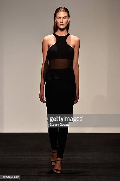A model walks the runway during the Ashkar Line show at MercedesBenz Fashion Week Australia 2015 at Carriageworks on April 13 2015 in Sydney Australia