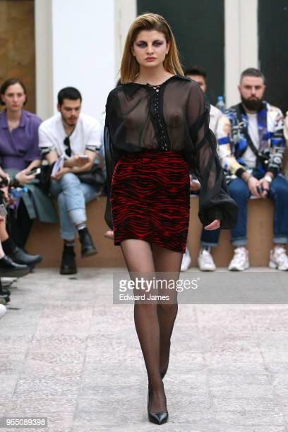 A model walks the runway during the Atelier Kikala Fall/Winter 2018/2019 Collection fashion show at MercedesBenz Fashion Week Tbilisi on May 5 2018...