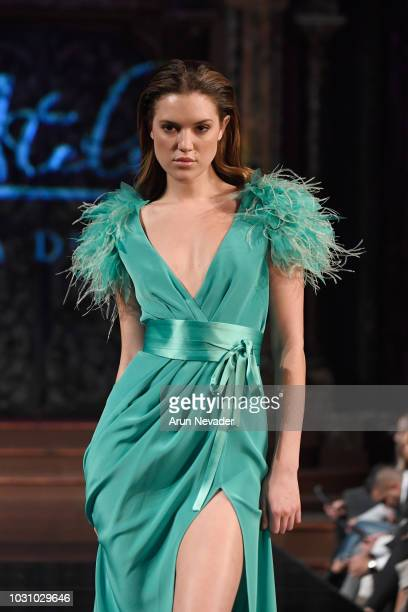 A model walks the runway during the ATELIER NICOLA D'ERRICO show at New York Fashion Week Powered By Art Hearts Fashion at The Angel Orensanz...