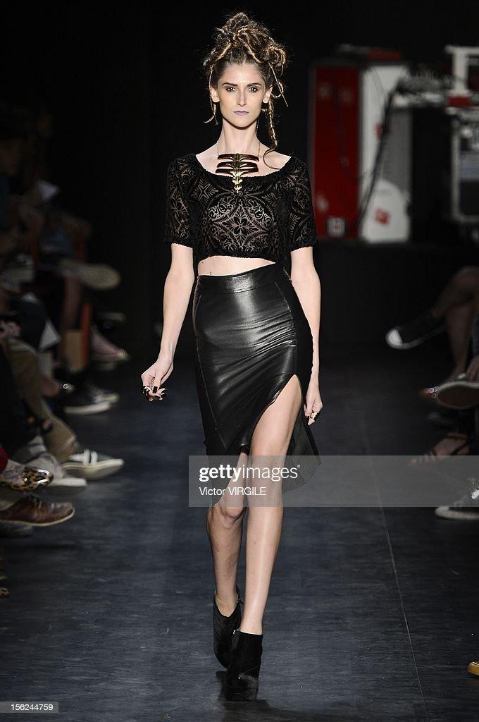A model walks the runway during the Auslander Fall/Winter 2013 fashion show at Fashion Rio on November 09, 2012 in Rio de Janeiro, Brazil.