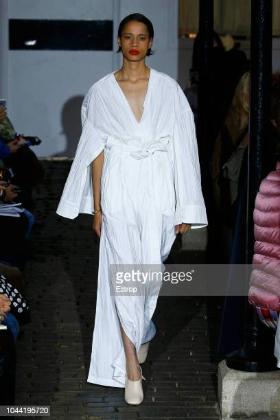 A model walks the runway during the AWAKE show as part of the Paris Fashion Week Womenswear Spring/Summer 2019 on September 25 2018 in Paris France
