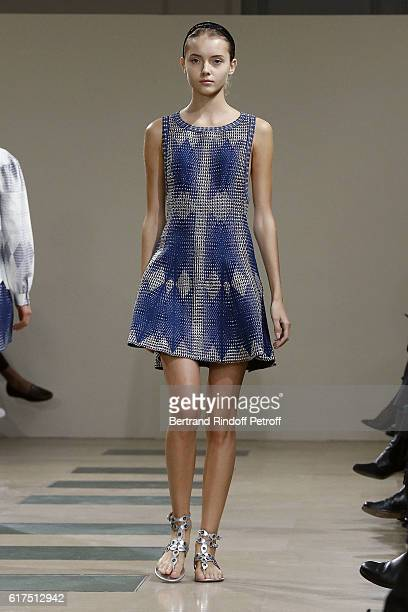 A model walks the Runway during the Azzedine Alaia Fashion Show at Azzedine Alaia Gallery on October 23 2016 in Paris France