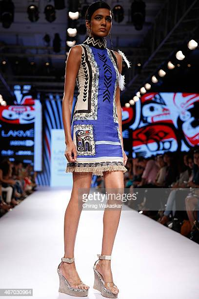 A model walks the runway during the Babita M show on day3 as part of Lakme Fashion Week Summer/Resort 2015 at Palladium Hotel on March 20 2015 in...