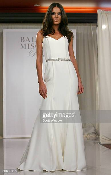 A model walks the runway during the Badgley Mischka Bridal Collection at the Warwick Hotel on April 13 2008 in New York City
