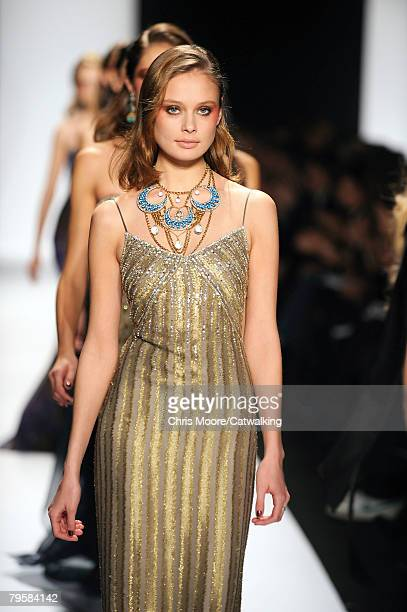 A model walks the runway during the Badgley Mischka fashion show part of New York Mercedes Benz Fashion Week Autumn/Winter 2008 on the 5th of...