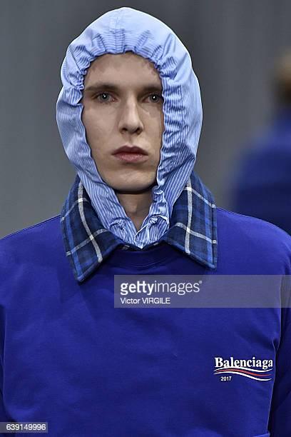 A model walks the runway during the Balenciaga Menswear Fall/Winter 20172018 show as part of Paris Fashion Week on January 18 2017 in Paris France