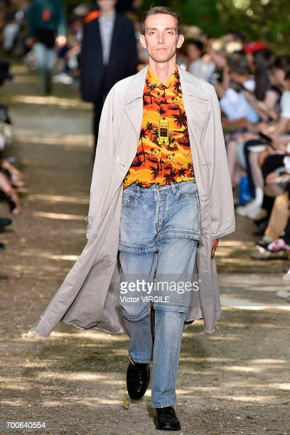 A model walks the runway during the Balenciaga Menswear Spring/Summer 2018 show as part of Paris Fashion Week on June 21 2017 in Paris France