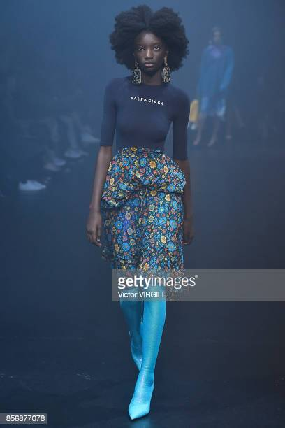 A model walks the runway during the Balenciaga Ready to Wear Spring/Summer 2018 fashion show as part of the Paris Fashion Week Womenswear...