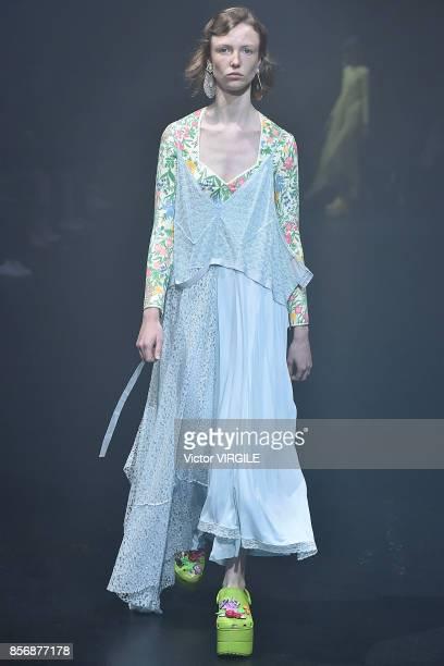 A model walks the runway during the Balenciaga Ready to Wear Spring/Summer 2018 fashion show as part of the Paris Fashion Week Womenswear...