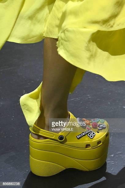 Model walks the runway during the Balenciaga Ready to Wear Spring/Summer 2018 fashion show as part of the Paris Fashion Week Womenswear Spring/Summer...