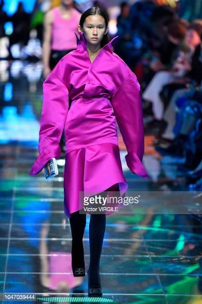 A model walks the runway during the Balenciaga Ready to Wear fashion show as part of the Paris Fashion Week Womenswear Spring/Summer 2019 on...