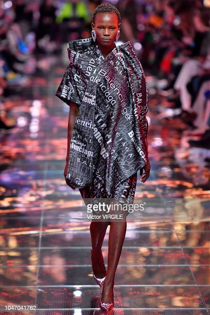 A model walks the runway during the Balenciaga Ready to Wear fashion show as part of the Paris Fashion Week Womenswear Spring/Summer 2019 on...