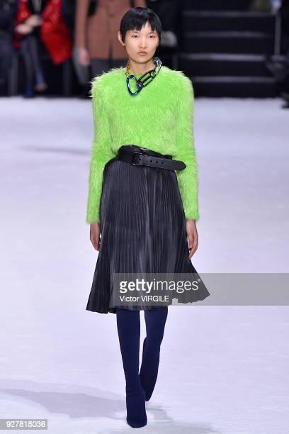 A model walks the runway during the Balenciaga Ready to Wear Fashion show as part of the Paris Fashion Week Womenswear Fall/Winter 2018/2019 on March...