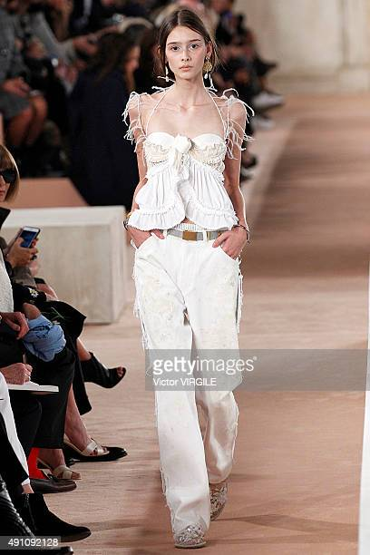 A model walks the runway during the Balenciaga Ready to Wear show as part of the Paris Fashion Week Womenswear Spring/Summer 2016 on October 2 2015...