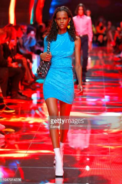 A model walks the runway during the Balenciaga show as part of the Paris Fashion Week Womenswear Spring/Summer 2019 on September 29 2018 in Paris...
