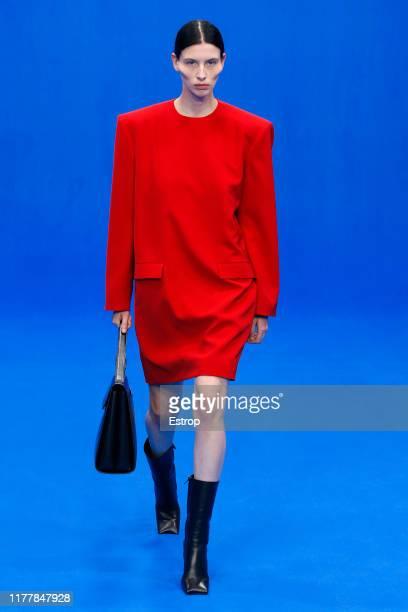 Model walks the runway during the Balenciaga Womenswear Spring/Summer 2020 show as part of Paris Fashion Week on September 29, 2019 in Paris, France.
