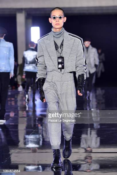 A model walks the runway during the Balmain Homme Menswear Fall/Winter 20192020 show as part of Paris Fashion Week on January 18 2019 in Paris France