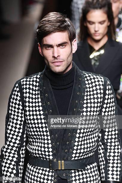 Model walks the runway during the Balmain Menswear Fall/Winter 2016-2017 show as part of Paris Fashion Week on January 23, 2016 in Paris, France.