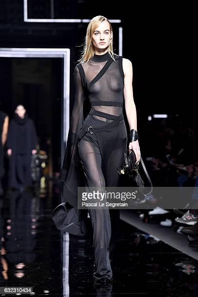 A model walks the runway during the Balmain Menswear Fall/Winter 20172018 show as part of Paris Fashion Week on January 21 2017 in Paris France