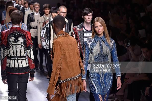 A model walks the runway during the Balmain Menswear Spring/Summer 2018 show as part of Paris Fashion Week on June 24 2017 in Paris France