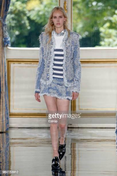 A model walks the runway during the Balmain Menswear Spring/Summer 2019 show as part of Paris Fashion Week on June 24 2018 in Paris France