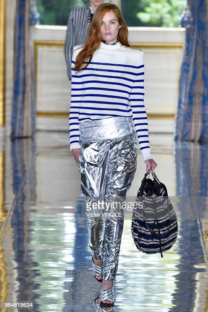 A model walks the runway during the Balmain Menswear Spring/Summer 2019 fashion show as part of Paris Fashion Week on June 24 2018 in Paris France