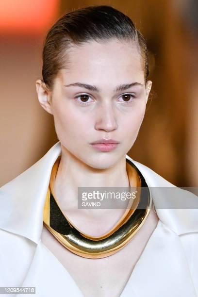 Model walks the runway during the Balmain Ready to Wear fashion show as part of the Paris Fashion Week Womenswear Fall/Winter 2020-2021 on February...