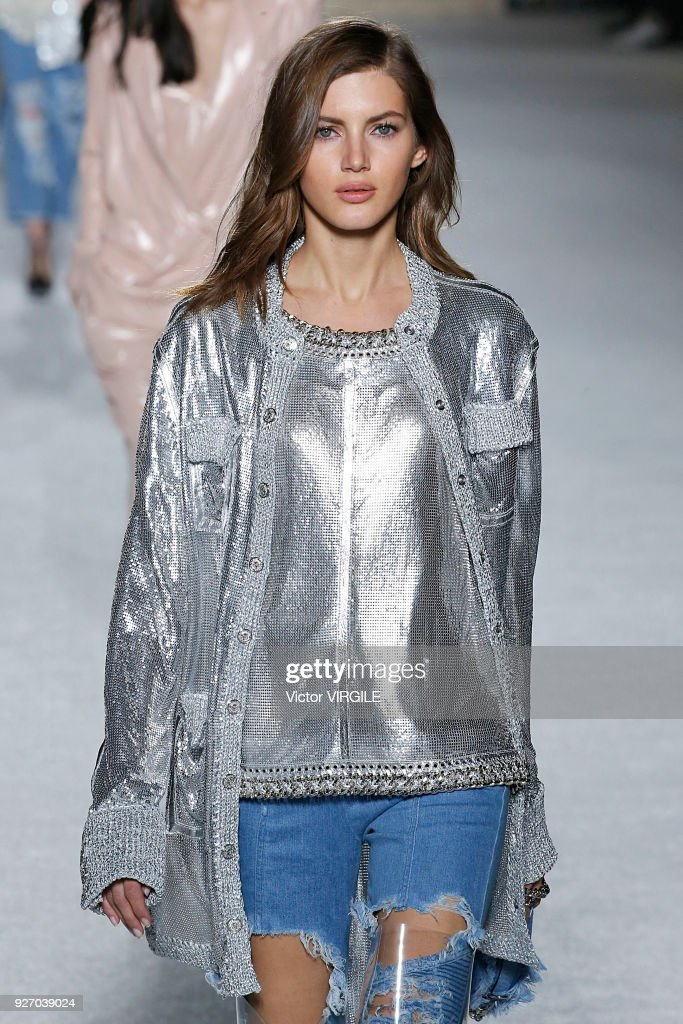 A model walks the runway during the Balmain Ready to Wear fashion show as part of the Paris Fashion Week Womenswear Fall/Winter 2018/2019 on March 2, 2018 in Paris, France.