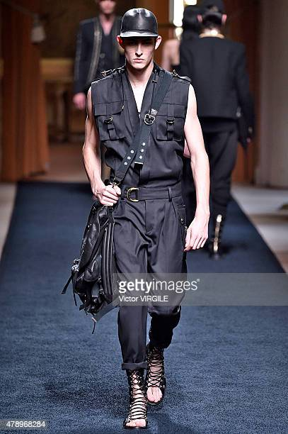 A model walks the runway during the Balmain Ready to Wear Menswear Spring/Summer 2016 show as part of Paris Fashion Week on June 27 2015 in Paris...