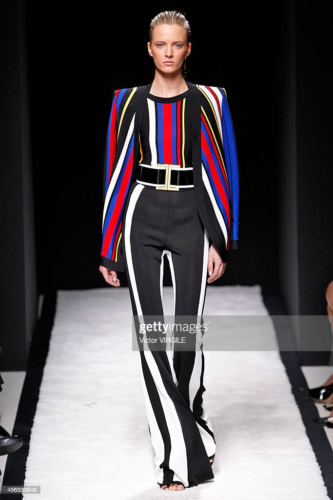 A model walks the runway during the Balmain Ready to Wear show as part of the Paris Fashion Week Womenswear Spring/Summer 2015 on September 25, 2014 in Paris, France.