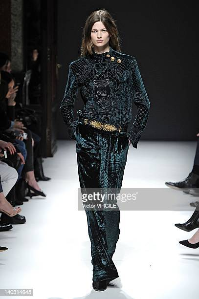 A model walks the runway during the Balmain ReadyToWear Fall/Winter 2012 show as part of Paris Fashion Week at the Intercontinental Paris Grand Hotel...