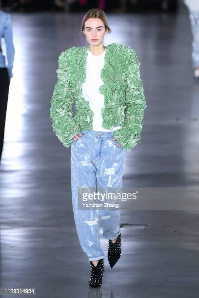 Model walks the runway during the Balmain show as part of the Paris Fashion Week Womenswear Fall/Winter 2019/2020 on March 1, 2019 in Paris, France.